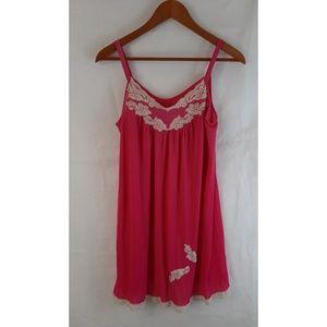 VINTAGE 60's Hot Pink Babydoll Nightie Nightgown M